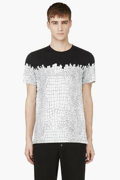 ab458c5a55 KRISVANASSCHE Black   White Croc Print T-shirt for men