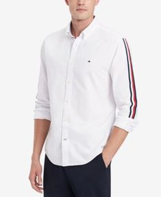 Tommy Hilfiger Men's Side Stripe Oxford Shirt, Created for Macy's - White XXL Dresses With Leggings, Leggings Are Not Pants, Plus Size Activewear, Trendy Plus Size, Casual Button Down Shirts, Oxford, Girl Outfits, Sweaters For Women, Tommy Hilfiger Shirts Mens