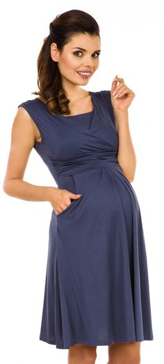 76963120e76 nursing tops - Zeta Ville Womens Maternity Nursing Aline Dress Pockets  Sleeveless Blue Grey US 8 L -- Learn more at the picture web link.  Breastfeeding
