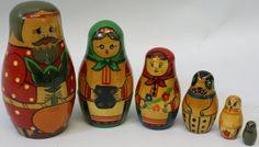 6 Vintage Wooden Nesting Russian USSR Matryoshka Stacking Dolls Family, $70.00