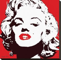 Marilyn Monroe-Red Stretched Canvas Print at AllPosters.com
