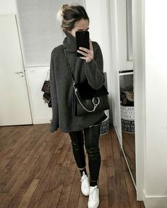 Best Autumn Outfits Part 20 Women's Fashion Dresses, Girl Fashion, Womens Fashion, Fall Winter Outfits, Autumn Winter Fashion, Leather Pants Outfit, Mein Style, Looks Black, Cute Outfits