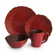 American Atelier - 16-Piece Napa Dinner Set in Red