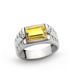 925 K Sterling Silver Men's Ring with Natural 3.25 ct Citrine and 0.02 ct Diamonds