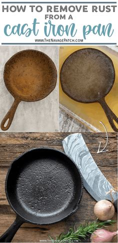 How to Restore a Cast Iron Pan   How to Season a Cast Iron Pan   How to remove rust from cast iron   The easy way to restore a pan   Easy rust remover   The right way to season a pan   Simple trick for removing rust from a cast iron pan   DIY Cast Iron Pan restoration   #TheNavagePatch #CastIron #RustRemoval #HowTo #Tutorial   TheNavagePatch.com Household Cleaning Tips, Rug Cleaning, Cleaning Hacks, Removing Rust, How To Remove Rust, Cleaning Rusty Cast Iron, Seasoning Cast Iron, Organiser, Iron Pan