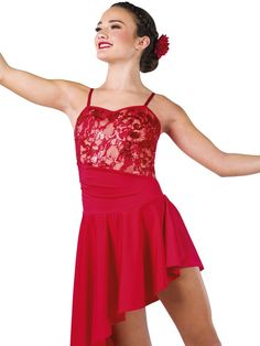 Sequined stretch lace and spandex short unitard with rouched overlay and attached matching skirt. Elastic straps and spandex binding trim. Lyrical Dance Dresses, Dance Costumes Lyrical, Spandex Shorts, Recital, Stretch Lace, Formal Dresses, Overlay, Skirts, Red
