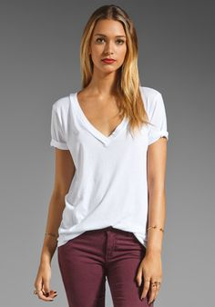 FLUXUS Crossover V-Neck Tee in White. Perfect Tee!