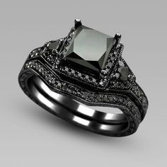 2.01ct Princess Cut Black Diamond 14k Black Gold Plated Engagement Ring Bridal Set