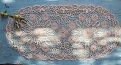 Vintage Lace Table Runner Handmade Point de by BelladonaVintage