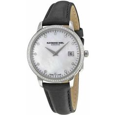 Women's Wrist Watches - Raymond Weil Toccata Mother of Pearl Diamond Dial Ladies Watch -- Continue to the product at the image link. Raymond Weil, Breitling Watches, Black Leather Watch, Pearl Diamond, Diamond Quartz, Watches For Men, Wrist Watches, Accessories, Women's Beauty