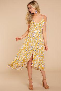 397eea939520 Pretty Yellow Maxi Dress - Floral Print Maxi Dress - Maxi - $46.00 – Red  Dress
