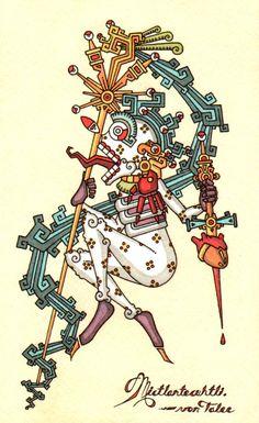 Mictlantecuhtli Arte Latina, Aztecas Art, Aztec Symbols, Aztec Tattoo Designs, Aztec Culture, Aztec Warrior, Inka, Mesoamerican, Chicano Art