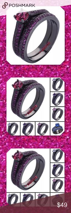 JUST IN🆕Sz 4 2pc Black Gold Filled Wedding Set New 2pc Sapphire and Black Gold Filled Wedding Set Size: 4 Colors Avail: Hot pink and black, Clear and black Setting: Solitaire and Pave  Metal: Black Gold Filled  Metal purity: 10k Includes: 2pc set    💠💠PRICE FIRM UNLESS BUNDLED💠💠 ⭐️⭐️SORRY NO TRADES AND LOWBALL OFFERS WILL BE IGNORED ⭐️⭐️ Glam Squad 2 You Jewelry Rings