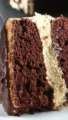 Chocolate Cake with Peanut Butter Cheesecake Filling