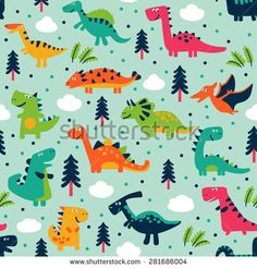 Adorable seamless pattern with funny dinosaurs in cartoon. Seamless pattern can be used for wallpapers, pattern fills, web page backgrounds,surface textures.