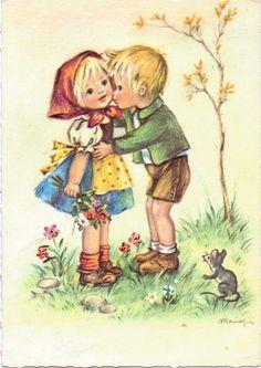 alte Ak Künstlerkarte, Junge küsst Mädchen auf die Wange | eBay