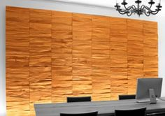 This custom wall paneling design attracts attention to the wall in a bold way. The orange, patterned facing on the paneling makes a definitive statement in an elegant way. Dayoris specializes in custom wall paneling built to your specifications. Decorative Wall Panels, 3d Wall Panels, Wood Panel Walls, Panel Wall Art, Into The Woods, Rustic Wood Walls, Wooden Walls, Wood Paneling Decor, Wall Panelling
