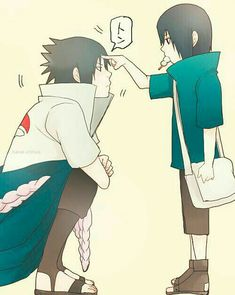 Sasuke and little Itachi. (Poor Sasuke, still poked when he's like five feet taller than Itachi) Sasuke E Itachi, Anime Naruto, Naruto Gaiden, Sarada Uchiha, Sakura And Sasuke, Naruto Uzumaki, Sasunaru, Sasuhina, Gaara