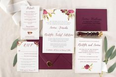 Boho Floral Wedding Invitation in Burgundy
