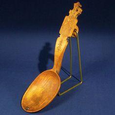 Wood Spoon 1890 Cross Carved Incised Kolrosing 13 inch Norway or Sweden as is #NorwegianSwedishScandinavianFolkArt #unknown
