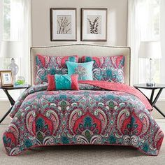 Add feminine charm to your room with the Casa Real Quilt Set by VCNY . This elegant bedding set starts with a paisley quilt in rich raspberry and teal. Casa Real, Quilt Sets, My New Room, Comforter Sets, Bed Spreads, Duvet Cover Sets, Set Cover, Luxury Bedding, Bed Sheets