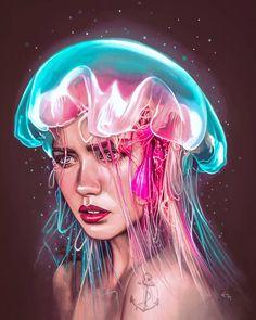 illustrations ideas art, art drawings и digi Digital Art Girl, Digital Portrait, Portrait Art, Color Portrait, Painted Fan, Tattoo Magazines, 3d Drawings, Art Et Illustration, Surreal Art