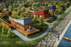 """GreenTerraHomes - Factory built, steel frame modular homes and structures.  These modern homes are """"green"""", with options like solar power, wind power, live roofs, grey water recycling. Steel framing is non-combustible, non-toxic and allergy free. Resistant to rodents, termites & insects. Go check out their classic and modern designs.  #modularhomes #mobilehomes"""