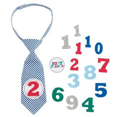 Gingham tie with interchangeable felt numbers marks baby's growth from 1 to 12…