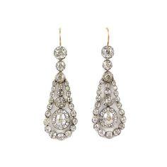 - Pair of 19th century diamond drop cluster swing pendant earrings, c.1830, More than 50000GBP