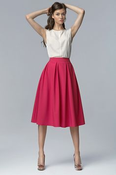 Spódnica+MIDI+z+kieszeniami+sp27+-+fuksja+w+NIFE+Fashion+na+DaWanda.com