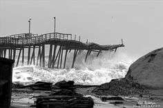 Rodanthe Pier collapse in storm/ Feb. 2015.. This was so sad, i live on the obx, and it was such a horrible sight to see, hopefully they can rebuild.