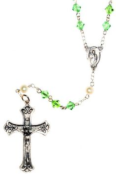 Sterling Silver Rosary made with Peridot Green Swarovski Crystal elements  Cultured FW Pearls August *** Check out this great product.(This is an Amazon affiliate link)