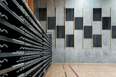 On the sports court, acoustic panels on the walls mimic the Poutama tukutuku design, a stepped pattern which symbolises climbing for knowled...