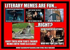 Faulkner's Fast Five: Happy New Year: ELA Inspired Memes to Ring in the . Middle School Literature, Ap Literature, Middle School Reading, Teaching Memes, Teaching Tools, Teaching Ideas, Teaching Biology, Classroom Pictures, Classroom Ideas