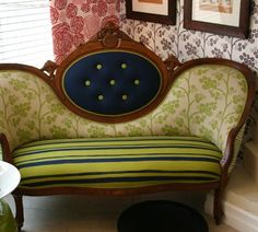 English sofa by Henry Road. The contrasting navy and green are beautiful together and I love the mixed patterns.