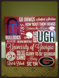 UGA Subway Art Canvas $30 - great gift for the Man in the House! Tell us who you're cheering for on Saturdays and we'll make a gift just for you!