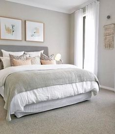 neutral bedroom design scheme presenting large   Pink and gray girl's room features walls painted a warm ...