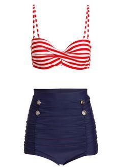 Seven Seas Nautical Sailor High Waist Two-Piece Swimsuit