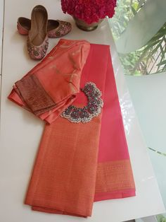 Peach long border kanchi silk saree - Peach kamcheepuram silk saree with self zari woven border in the traditional design. The pallu and blouse is also peach self Saree Blouse Patterns, Saree Blouse Designs, Indian Sarees, Silk Sarees, Saree Look, Saree Dress, Blouse Dress, Elegant Saree, Buy Sarees Online