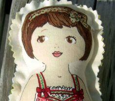 Mia Elizabeth  Cute Fabric doll  retro like by intherosegarden, $4.75