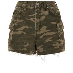 TopShop Moto Camouflage Pocket Mom Shorts (84 CAD) ❤ liked on Polyvore featuring shorts, topshop, camo print shorts, camouflage shorts, pocket shorts, camoflage shorts and camo shorts