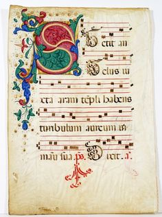 """Illuminated Manuscript: Large Initial """"S"""" from Italian Antiphonal (c. 1500)"""