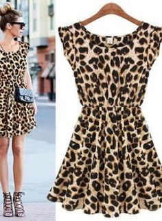 Black Strapless Dress - Casual Leopard Dress for Women