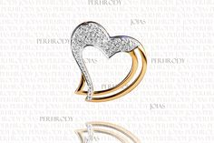 Coração - Pingente em ouro amarelo com diamantes.