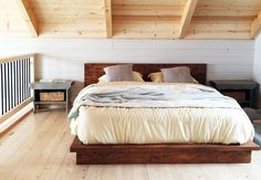 Add a sophisticated and elegant style to your bedroom with this DIY rustic platform bed project. Simply follow these easy project building plans via Ana White.