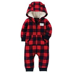 Keep your little cub snuggled in cozy warmth this winter with carter's Buffalo Check Fleece Hooded Jumpsuit. Perfect for everyday wear from play dates to running errands with mom, this adorable jumpsuit features a Sherpa-lined hood with 3D ear details.