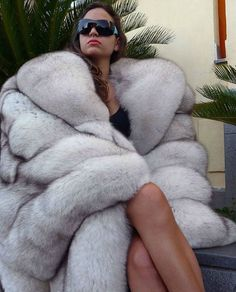 Blue Fox Full length fur coat