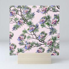 Jacaranda Blooms in purple pink rose on tree-leaves Mini Art Print by justkidding Blue Texture, Tree Leaves, Lavender Color, Flower Images, Flower Designs, Pink Purple, Cool Art, Succulents, Gallery Wall