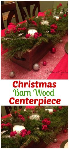 Fill your home with the wonderful aroma of fresh cut pine branches for Christmas. This rustic Christmas Barn Wood Box Centerpiece is the perfect way to display all of your outdoor treasures. Christmas Tabletop, Christmas Table Centerpieces, Christmas Table Settings, Christmas Table Decorations, Christmas Candles, Rustic Christmas, Christmas Crafts, Holiday Decor, Nordic Christmas