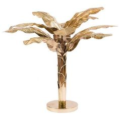 Blue Carreon Palmer Gold Brass Palm Tree ($2,375) ❤ liked on Polyvore featuring home, home decor, gold palm tree, blue palm, brass sculpture, brass home decor and gold home accessories